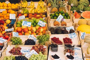 Fresh organic fruits in farmers street market in Munich