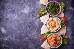 Selection of Middle Eastern or Arabic appetizers