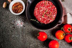 Raw beef burgers