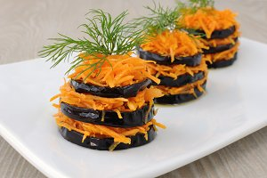 Fried eggplant with carrots
