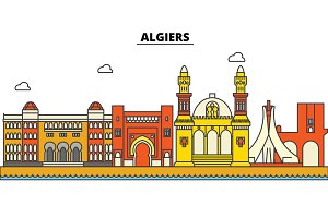 Algeria, Algiers. City skyline: architecture, buildings, streets, silhouette, landscape, panorama, landmarks. Editable strokes. Flat design line vector illustration concept. Isolated icons set