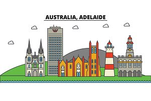 Australia, Adelaide. City skyline: architecture, buildings, streets, silhouette, landscape, panorama, landmarks. Editable strokes. Flat design line vector illustration concept. Isolated icons set