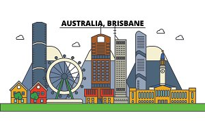 Australia, Brisbane. City skyline: architecture, buildings, streets, silhouette, landscape, panorama, landmarks. Editable strokes. Flat design line vector illustration concept. Isolated icons set