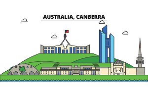 Australia, Canberra. City skyline: architecture, buildings, streets, silhouette, landscape, panorama, landmarks. Editable strokes. Flat design line vector illustration concept. Isolated icons set