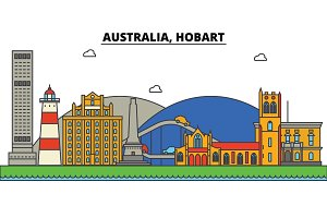 Australia, Hobart. City skyline: architecture, buildings, streets, silhouette, landscape, panorama, landmarks. Editable strokes. Flat design line vector illustration concept. Isolated icons set