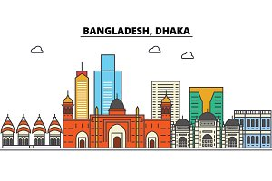 Bangladesh, Dhaka. City skyline: architecture, buildings, streets, silhouette, landscape, panorama, landmarks. Editable strokes. Flat design line vector illustration concept. Isolated icons set