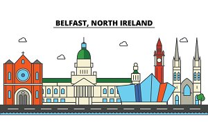 Belfast, North Ireland. City skyline: architecture, buildings, streets, silhouette, landscape, panorama, landmarks. Editable strokes. Flat design line vector illustration concept. Isolated icons set