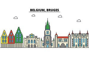 Belgium, Bruges. City skyline: architecture, buildings, streets, silhouette, landscape, panorama, landmarks. Editable strokes. Flat design line vector illustration concept. Isolated icons set