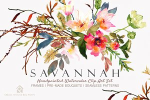 Savannah - Watercolor Floral Set