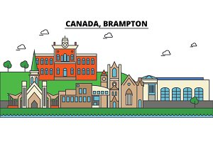 Canada, Brampton. City skyline: architecture, buildings, streets, silhouette, landscape, panorama, landmarks. Editable strokes. Flat design line vector illustration concept. Isolated icons set