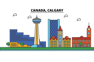 Canada, Calgary. City skyline: architecture, buildings, streets, silhouette, landscape, panorama, landmarks. Editable strokes. Flat design line vector illustration concept. Isolated icons set