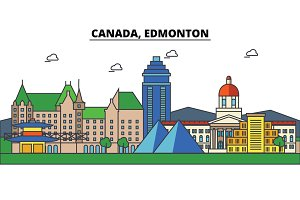 Canada, Edmonton. City skyline: architecture, buildings, streets, silhouette, landscape, panorama, landmarks. Editable strokes. Flat design line vector illustration concept. Isolated icons set