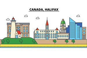 Canada, Halifax. City skyline: architecture, buildings, streets, silhouette, landscape, panorama, landmarks. Editable strokes. Flat design line vector illustration concept. Isolated icons set