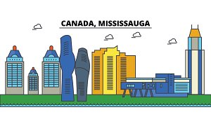 Canada, Mississauga. City skyline: architecture, buildings, streets, silhouette, landscape, panorama, landmarks. Editable strokes. Flat design line vector illustration concept. Isolated icons set