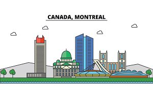 Canada, Montreal. City skyline: architecture, buildings, streets, silhouette, landscape, panorama, landmarks. Editable strokes. Flat design line vector illustration concept. Isolated icons set