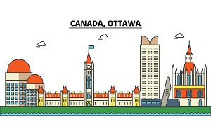 Canada, Ottawa. City skyline: architecture, buildings, streets, silhouette, landscape, panorama, landmarks. Editable strokes. Flat design line vector illustration concept. Isolated icons set