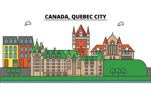 Canada, Quebec City. City skyline: architecture, buildings, streets, silhouette, landscape, panorama, landmarks. Editable strokes. Flat design line vector illustration concept. Isolated icons set