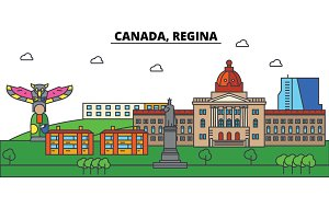 Canada, Regina. City skyline: architecture, buildings, streets, silhouette, landscape, panorama, landmarks. Editable strokes. Flat design line vector illustration concept. Isolated icons set