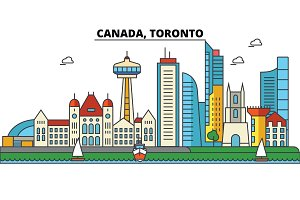Canada, Toronto. City skyline: architecture, buildings, streets, silhouette, landscape, panorama, landmarks. Editable strokes. Flat design line vector illustration concept. Isolated icons set