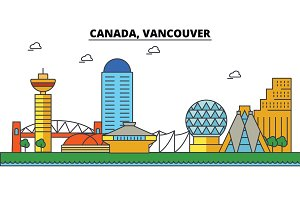 Canada, Vancouver. City skyline: architecture, buildings, streets, silhouette, landscape, panorama, landmarks. Editable strokes. Flat design line vector illustration concept. Isolated icons set