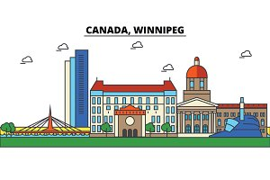 Canada, Winnipeg. City skyline: architecture, buildings, streets, silhouette, landscape, panorama, landmarks. Editable strokes. Flat design line vector illustration concept. Isolated icons set