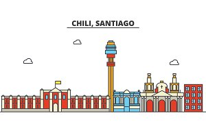 Chili, Santiago. City skyline: architecture, buildings, streets, silhouette, landscape, panorama, landmarks. Editable strokes. Flat design line vector illustration concept. Isolated icons set