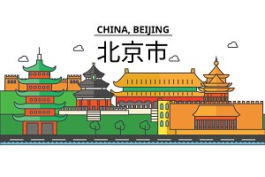 China, Beijing. City skyline: architecture, buildings, streets, silhouette, landscape, panorama, landmarks. Editable strokes. Flat design line vector illustration concept. Isolated icons set
