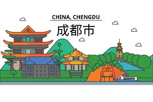 China, Chengdu. City skyline: architecture, buildings, streets, silhouette, landscape, panorama, landmarks. Editable strokes. Flat design line vector illustration concept. Isolated icons set