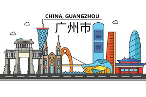 China, Guangzhou. City skyline: architecture, buildings, streets, silhouette, landscape, panorama, landmarks. Editable strokes. Flat design line vector illustration concept. Isolated icons set