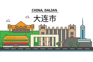 China, Guilin. City skyline: architecture, buildings, streets, silhouette, landscape, panorama, landmarks. Editable strokes. Flat design line vector illustration concept. Isolated icons set