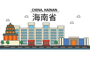China, Hainan. City skyline: architecture, buildings, streets, silhouette, landscape, panorama, landmarks. Editable strokes. Flat design line vector illustration concept. Isolated icons set