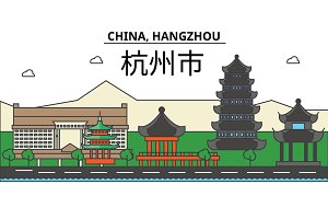 China, Hangzhou. City skyline: architecture, buildings, streets, silhouette, landscape, panorama, landmarks. Editable strokes. Flat design line vector illustration concept. Isolated icons set