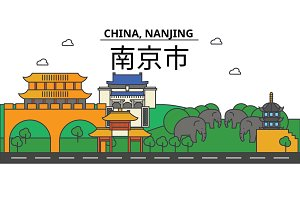 China, Nanjing. City skyline: architecture, buildings, streets, silhouette, landscape, panorama, landmarks. Editable strokes. Flat design line vector illustration concept. Isolated icons set