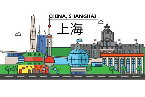 China, Shanghai. City skyline: architecture, buildings, streets, silhouette, landscape, panorama, landmarks. Editable strokes. Flat design line vector illustration concept. Isolated icons set