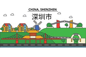 China, Shenzhen. City skyline: architecture, buildings, streets, silhouette, landscape, panorama, landmarks. Editable strokes. Flat design line vector illustration concept. Isolated icons set