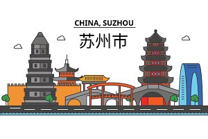 China, Suzhou. City skyline: architecture, buildings, streets, silhouette, landscape, panorama, landmarks. Editable strokes. Flat design line vector illustration concept. Isolated icons set