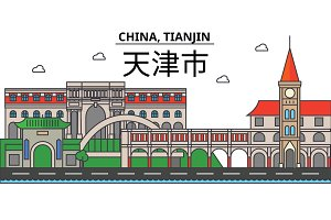 China, Tianjin. City skyline: architecture, buildings, streets, silhouette, landscape, panorama, landmarks. Editable strokes. Flat design line vector illustration concept. Isolated icons set