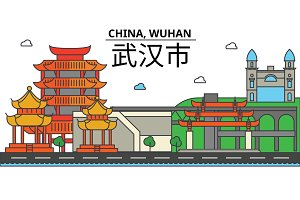 China, Wuhan. City skyline: architecture, buildings, streets, silhouette, landscape, panorama, landmarks. Editable strokes. Flat design line vector illustration concept. Isolated icons set