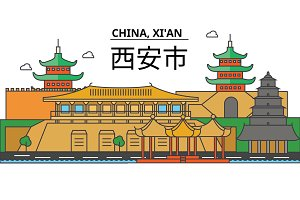 China, Xi'an. City skyline: architecture, buildings, streets, silhouette, landscape, panorama, landmarks. Editable strokes. Flat design line vector illustration concept. Isolated icons set