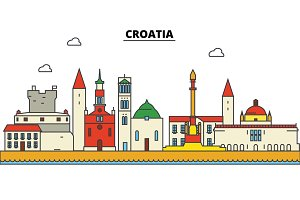 Croatia, Croatia. City skyline: architecture, buildings, streets, silhouette, landscape, panorama, landmarks. Editable strokes. Flat design line vector illustration concept. Isolated icons set