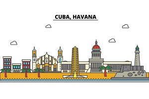 Cuba, Havana. City skyline: architecture, buildings, streets, silhouette, landscape, panorama, landmarks. Editable strokes. Flat design line vector illustration concept. Isolated icons set