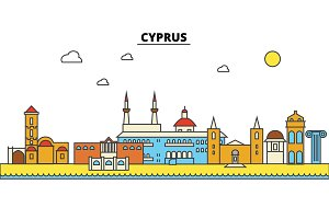 Cyprus, Cyprus. City skyline: architecture, buildings, streets, silhouette, landscape, panorama, landmarks. Editable strokes. Flat design line vector illustration concept. Isolated icons set