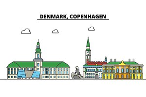 Denmark, Copenhagen. City skyline: architecture, buildings, streets, silhouette, landscape, panorama, landmarks. Editable strokes. Flat design line vector illustration concept. Isolated icons set