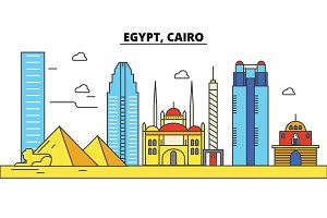 Egypt, Cairo. City skyline: architecture, buildings, streets, silhouette, landscape, panorama, landmarks. Editable strokes. Flat design line vector illustration concept. Isolated icons set