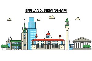 England, Birmingham. City skyline: architecture, buildings, streets, silhouette, landscape, panorama, landmarks. Editable strokes. Flat design line vector illustration concept. Isolated icons set