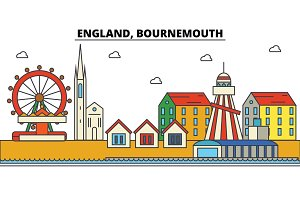 England, Bournemouth. City skyline: architecture, buildings, streets, silhouette, landscape, panorama, landmarks. Editable strokes. Flat design line vector illustration concept. Isolated icons set