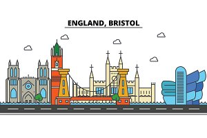 England, Bristol. City skyline: architecture, buildings, streets, silhouette, landscape, panorama, landmarks. Editable strokes. Flat design line vector illustration concept. Isolated icons set