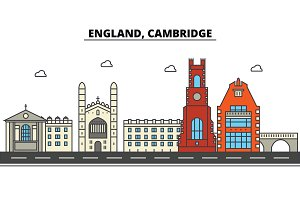 England, Cambridge. City skyline: architecture, buildings, streets, silhouette, landscape, panorama, landmarks. Editable strokes. Flat design line vector illustration concept. Isolated icons set