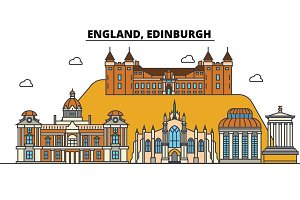 England, Edinburgh. City skyline: architecture, buildings, streets, silhouette, landscape, panorama, landmarks. Editable strokes. Flat design line vector illustration concept. Isolated icons set