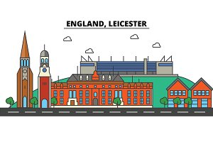 England, Leicester. City skyline: architecture, buildings, streets, silhouette, landscape, panorama, landmarks. Editable strokes. Flat design line vector illustration concept. Isolated icons set